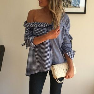 Topshop Gingham Reworked Button Down Shirt Blue